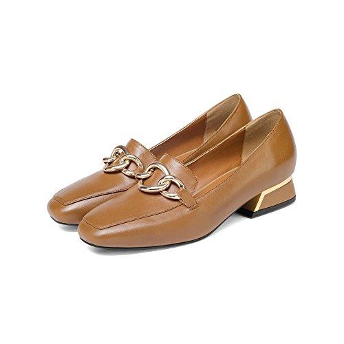 CXQ amp;X Chaussures Profond Bloc Tête Bouche Peu carré Talons QIN Light Femme Brown BEwvZaxrEq