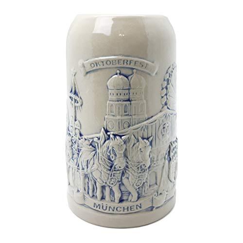 Beer Stein Munich Beer Wagon Stoneware Beer Mug by E.H.G | .5 Liter