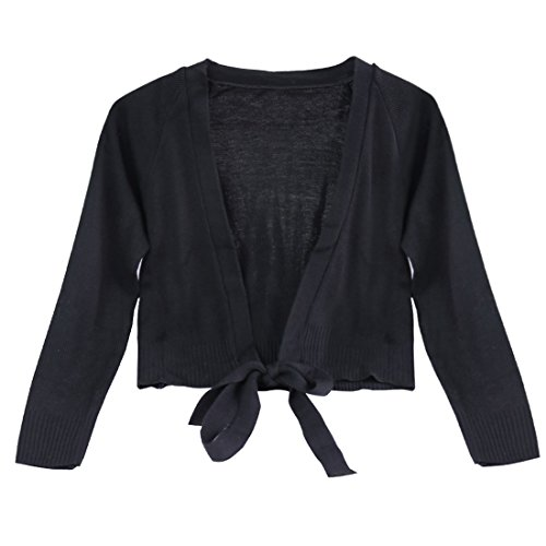 FEESHOW Kids Girls Classic Long Sleeve Ballet Dance Wrap Knit Cardigan Sweater Top Black 9-10