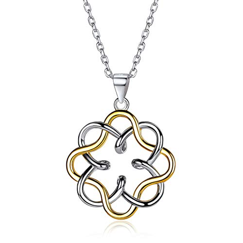 ChicSilver 925 Sterling Silver Irish Infinity Endless Love Celtic Knot Two-Tone Vintage Pendant Necklace, Rolo Chain 18