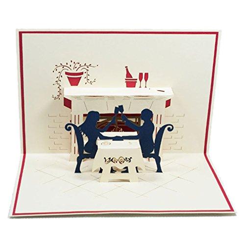 Favour Pop Up carte de mariage–Un couple en Dinner. Style Motif, aufwändige la main et sophistiquée Laser technique le créer des petits espaces un filigranes Art.. tl032
