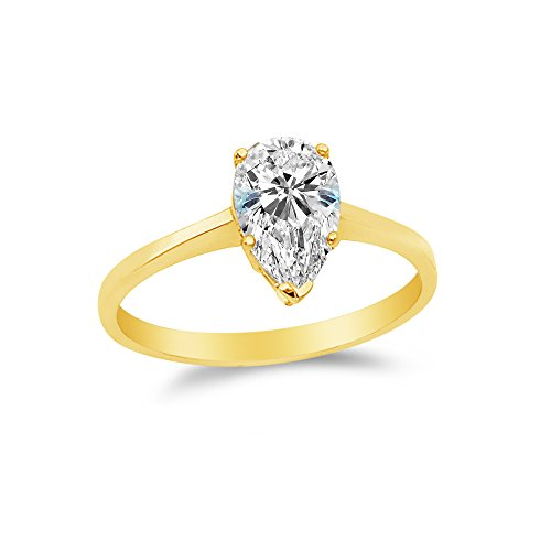 Cathedral Setting Six Prong Solitaire - Size - 5 - 14k Yellow Gold Highest Quality CZ Cubic Zirconia Pear Engagement Ring (1.0ct. Center Stone)