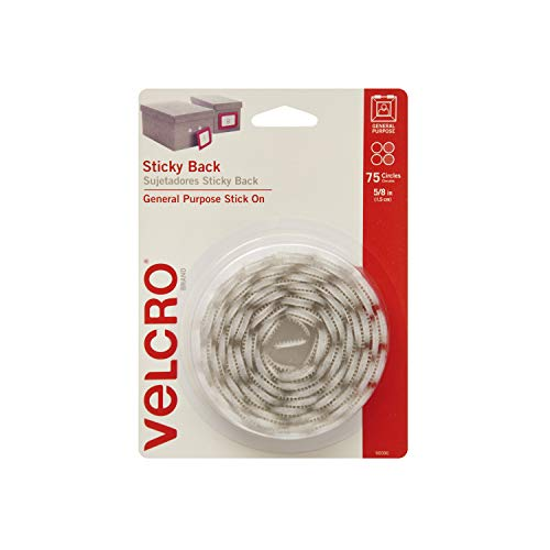 VELCRO Brand - Sticky Back Hook and Loop Fasteners | Perfect for Home or Office | 5/8in Coins | Pack of 75 | ()