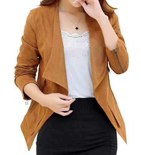 Howme-Women Suede Fabric Open Front Irregular Elegent Coat Jacket 1