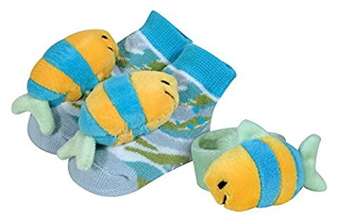 Stephan Baby Go Fish Wrist Rattle and Rattle Socks Gift Set, Blue Fish (Booties With Rattles)