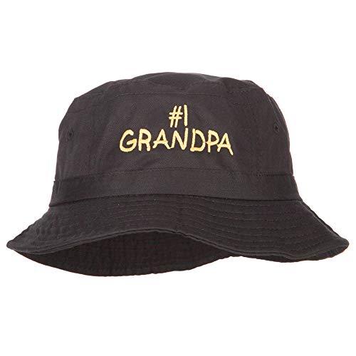 Number 1 Grandpa Embroidered Bucket Hat - Black OSFM