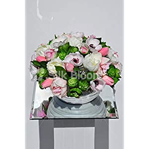 Silk Blooms Ltd Artificial Light Pink Tulip and White Anemone Floral Arrangement w/Green Succulents 104