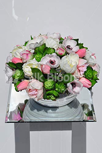 Silk-Blooms-Ltd-Artificial-Light-Pink-Tulip-and-White-Anemone-Floral-Arrangement-wGreen-Succulents