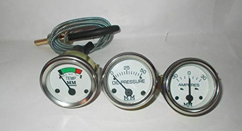 Minneapolis Moline Temp, Oil Pr, Ampere Gauge Set- G,R,U,Z,335,400,445, 500, 600 in Chrome Bezel by Generic (Image #1)