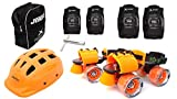 Jaspo Thunder Thorns Intact Adjustable Senior Roller Skates Combo Suitable for Age Group 6 to 14 Years