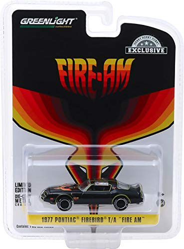 Greenlight 30059 1977 Pontiac Firebird Fire Am Very Special Equipment (VSE) - Black with Hood Bird (Hobby Exclusive) 1/64 Scale