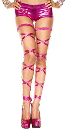 Rave Wonderland Women's Metallic Fuschia Leg Wraps