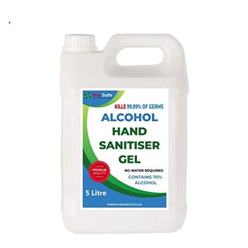 5 Litre Hand Sanitiser Gel 70% Alcohol UK Brand 5000ml Vira Safe Sanitizer 5L HandGel