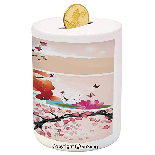 SoSung House Decor Ceramic Piggy Bank,Collection of Oriental Arts with Snow Capped Mountain Fish Lake Waterlilies Butterflies 3D Printed Ceramic Coin Bank Money Box for Kids & Adults,Peach Green