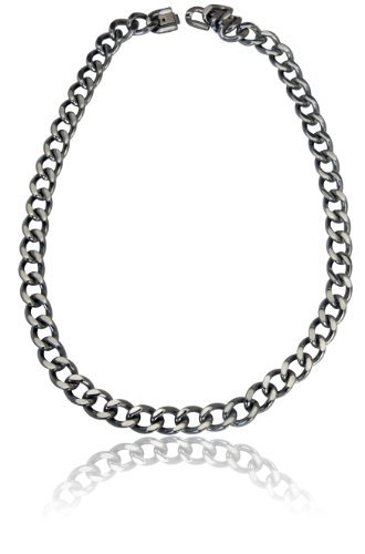 Men's Silver Tone Chunky Curb Link Chain Necklace 22 (Metal Curb Chain)