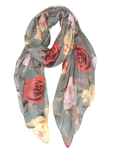 GERINLY Rose Blossom Print Scarf for Women Spring Shwal Wrap -Various Colors