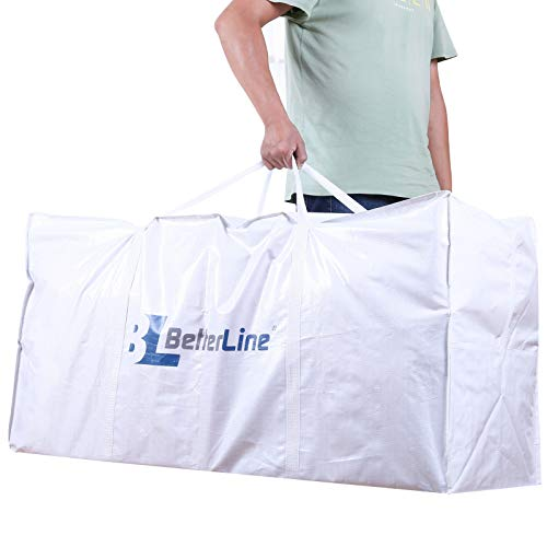 22 Storage - BETTERLINE Extra Large Storage Bag - Heavy Duty 45x22x16 Inches Huge Tote Duffel with Max Load of 100 lbs. (45kg) - Tear-Resistant & Water-Resistant Polypropylene Woven Cloth, with Zippers