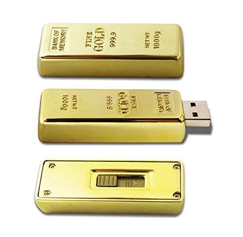D-CLICK TM High Quality 4GB/8GB/16GB/32GB/64GB/Cool USB High speed Flash Memory Stick Pen Drive Disk (32GB, GOLD BAR)