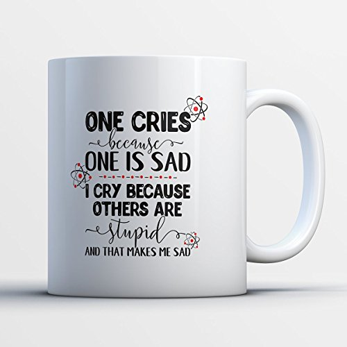 Nerd Coffee Mug - Stupid Makes Me Sad - Funny 11 oz White Ceramic Tea Cup - Humorous And Cute Nerd Gifts with Nerd
