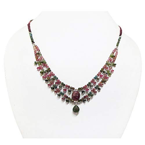 Tourmaline Designer Beaded Mesh Necklace with Sterling Silver 16' Green Black Tourmaline Jewelry