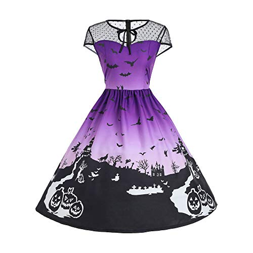 UONQD Halloween Women Mesh Patchwork Printed Vintage Sleeveless Party Dress (Small,Purple) -