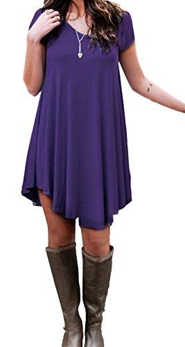 LILBETTER beiläufige lose Damen Kleid Shirt Lila T Kurzarm fPxvnrgSf