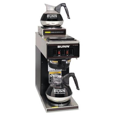 Bunn - 12-Cup Two-Station Commercial Pour-O-Matic Coffee Brewer Stainless Steel Black quot;Product Category: Breakroom And Janitorial/Appliancesquot;