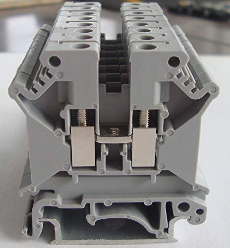 Grey 100 Pcs UK5N DIN Rail Terminal Block Screw Clamp Connector 800V 41A