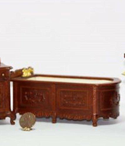 Dollhouse Miniature Ornate Fine Furniture Walnut Bathtub - Ornate Walnut