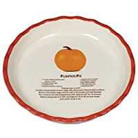 Harbottle House Round Ceramic Pie Pan Pans Plate Deep Dish 10 inch with Recipe (10