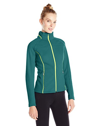 Spyder Women's Virtue Full Zip Sweater, Cove/Bryte Yellow, Large