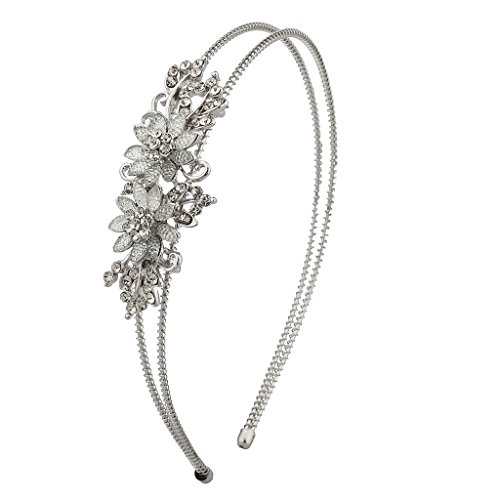 Lux Accessories Caviar Floral Flower Pave Crystal Stretch Bride Bridal Bridesmaid Wedding Headband.