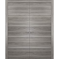 Grey Modern French Doors 48 x 80 with Mo...
