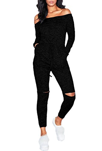 Playworld Women's Sexy Off Shoulder Jumpsuits Knee Hole Pants Party Club Rompers, Black, Small (Shoulder One Fishnet)