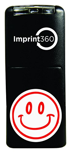 Imprint 360 AS-IMP2006 Round Teacher Samp - Smiley Face Design #2, Red Ink, Durable, Light Weight Self-Inking Stamp, 5/8' Impression Area