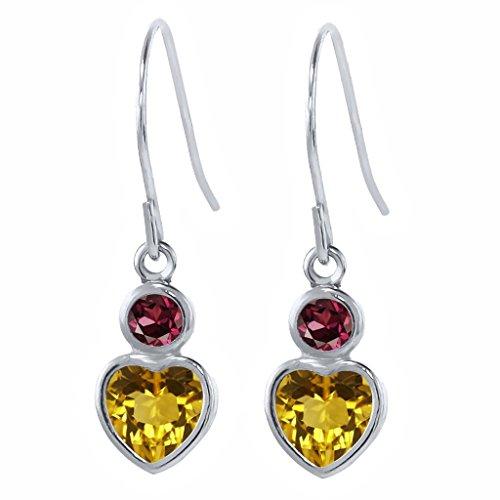 Gem Stone King 1.16 Ct Yellow Citrine Red Rhodolite Garnet 925 Sterling Silver Earrings