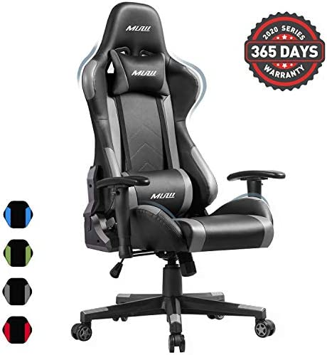 Muzii PC Gaming Chair for Pro,4-Color Choice PU Leather Racing Style Ergonomic Adjustable Computer Chair for Office or Game with Headrest and Lumbar Pillow for Adults and Teens Grey