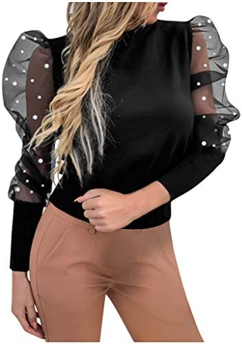 Photno Women`s Crew Neck Lantern Sleeve Top Casual Loose Transparent Mesh Sleeves Solid Blouse T Shirt / Photno Women`s Crew Neck Lantern Sleeve Top Casual Loose Transparent Mesh Sleeves Solid Blouse T Shirt