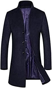 Soluo Men's Wool Trench Coat Slim Fit Single Breasted Overcoat Business Down Jacket Winter Topcoat Out