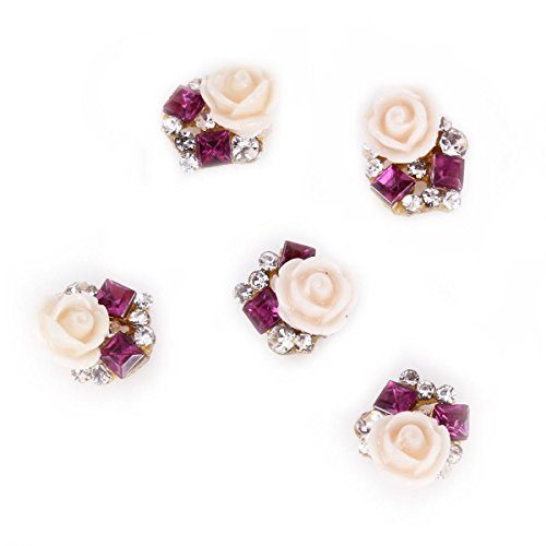 Rain Queen 3D Nail Art Acrylic Rose Flower Glitters Charms for DIY Decorations Purple Rhinestones Pack of - Acrylic Flowers