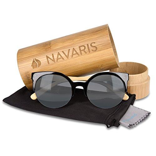 para y con Color colores gafas hombre distintos de sol de Gris de Gafas Navaris bambú mujer de cristales madera de negro Gafas UV400 sol 0zqwFFa