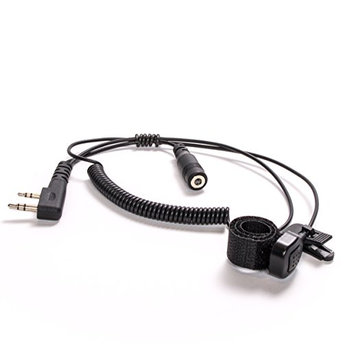 Kenwood Adapter Mic - BTECH 2 Pin (K1 Connector) to 3.5MM Adapter with Push-to-Talk Button (Compatible with 2 Pin BaoFeng, Kenwood, BTECH Radios to 3.5mm Headsets with in-line Mics)