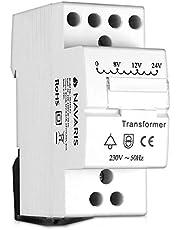 Navaris deurbel 8 V 12 V 24 V – past op standaard rail – beltransformator voor maximaal 8VA deurbel gong - bel, transformator, wit