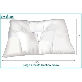 Image of Arc4life Cervical Linear Traction Neck Pillow Large Extra Firm- Orthopedic Sleeping Pillows with Contoured Neck Support- Cervical Pillow for Neck Pain Health and Household