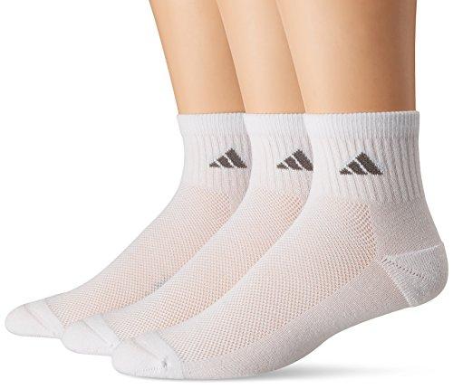 Mens 3 Stripe Quarter Sock - adidas Men's Climacool Superlite Quarter Socks (Pack of 3), White/Light Onix/Medium Lead, One Size