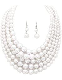 Women's Simulated Faux Pearl Five Multi-Strand Statement Necklace and Earrings Set