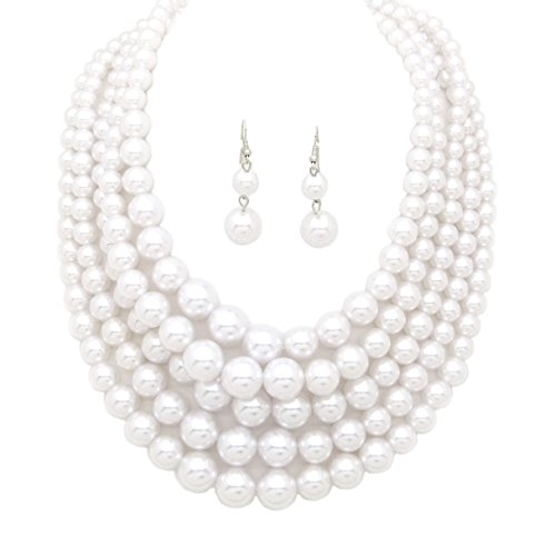 Fashion 21 Women's Five Multi-Strand Simulated Pearl Statement Necklace and Earrings Set ()