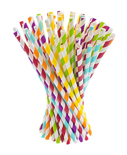Paper Straws, 200 pack, Biodegradable Paper Drinking Straws, Multicolor Striped Straws for Parties, Carnivals and Crafts, By KGS Party Essentials ()