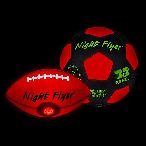 Night Flyer Light Up Football + Soccer Ball by Windy City Novelties