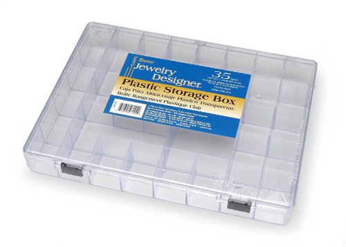 Darice 2025-179 35 Cavity Plastic Storage Box, Clear